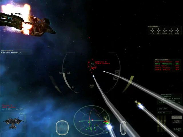 <em>FreeSpace 2</em>&#8212;widely considered the best space sim yet created. This screenshot was taken in the Blue Planet mod.