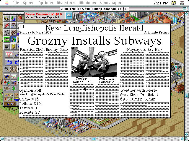The quirky newspaper in <em>SimCity 2000</em> was one of the highlights of the game.