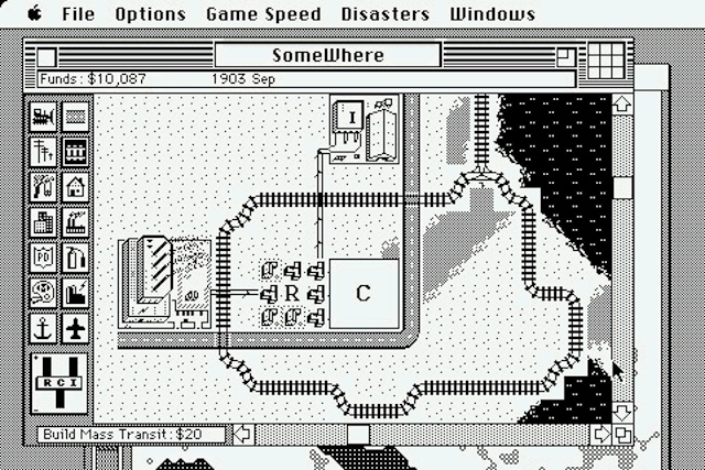 The Macintosh version of <em>SimCity</em> offered high-resolution graphics, but was initially available in black and white only.