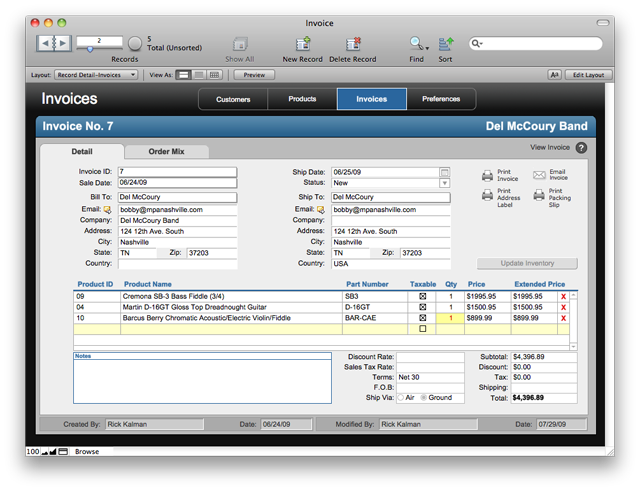 FileMaker Pro 11: Invoice Start Solution template