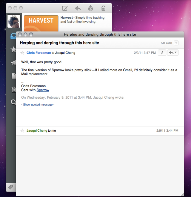 """The Sparrow UI with messages shown in a separate window. You can also see how ads are displayed at the top of the message list in the """"lite"""" version coming to the Mac App Store soon."""