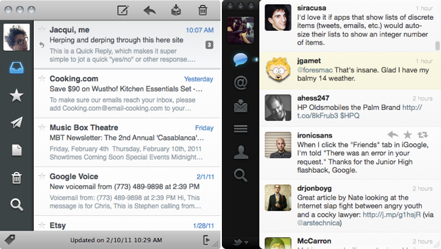 Sparrow 1.0 on the left, Twitter for Mac 2.0 on the right.