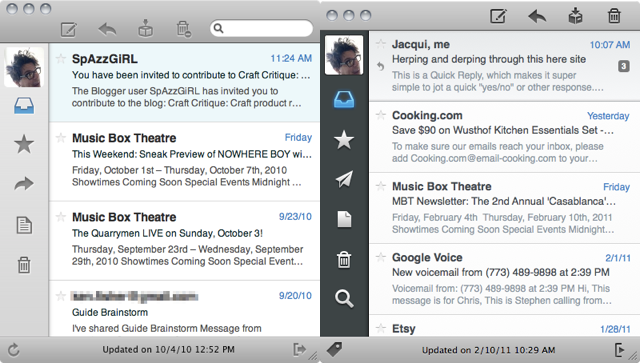 The first public beta of Sparrow on the left, Sparrow 1.0 on the right.