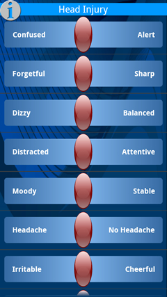 The T2 MoodTracker page for head injury sufferers.