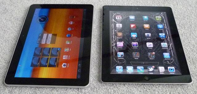 The Galaxy Tab 10.1 (left) next to an iPad 2