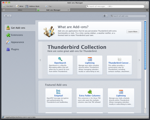 The new Thunderbird add-on manager