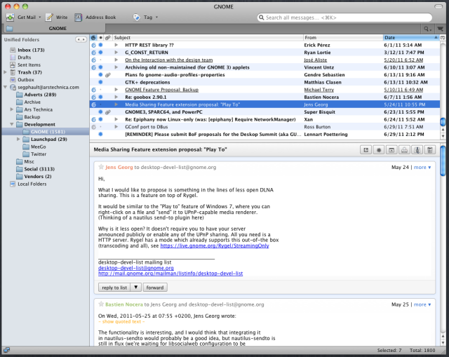 The experimental Thunderbird conversation view add-on