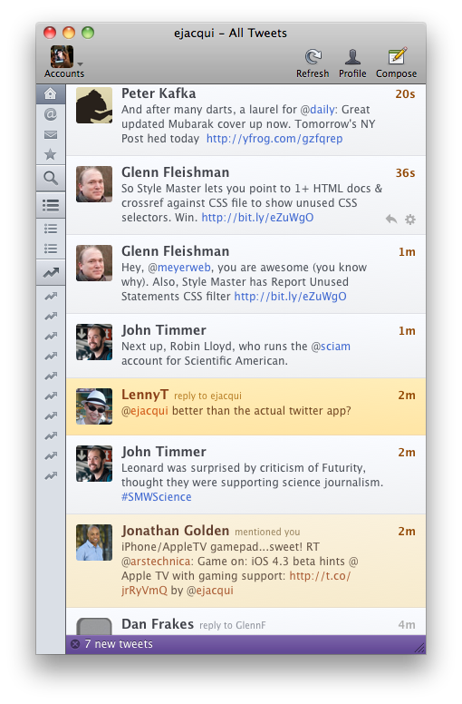 Left-hand sidebar collapsed with just icons