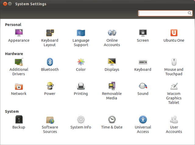 The new System Settings panel provides limited access to settings