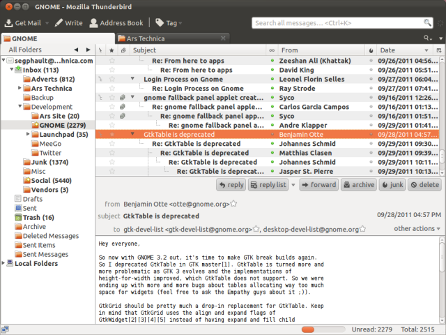 Thunderbird, the new default mail client on Ubuntu 11.10
