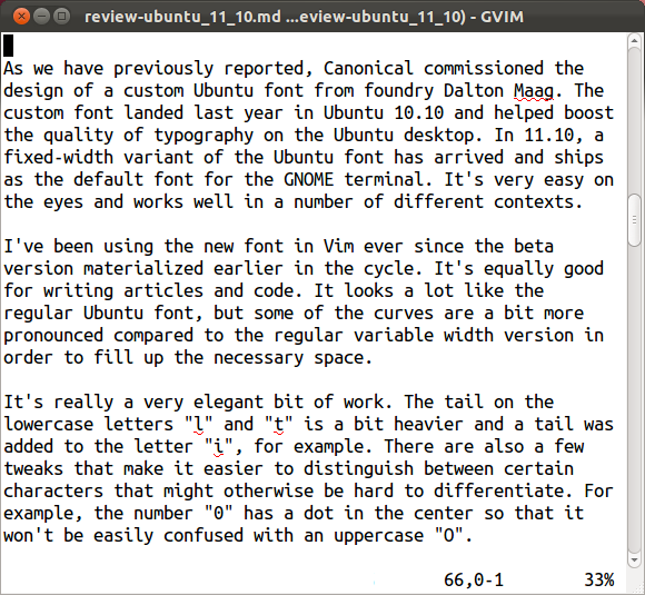 The new fixed-width Ubuntu font demonstrated in GVim