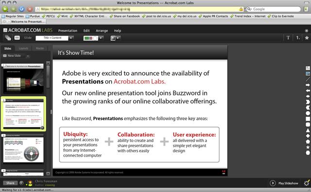 A preview of Adobe Presentation