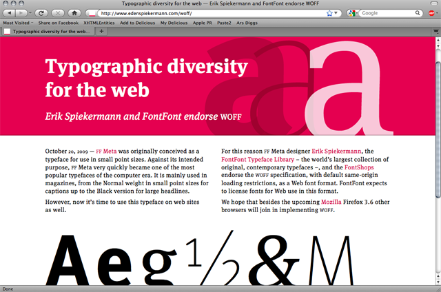 Sample page using WOFF fonts displayed in Firefox 3.8 on Mac OS X.