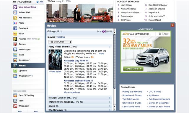 Yahoo homepage movies widget