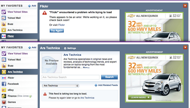 Yahoo homepage widget errors