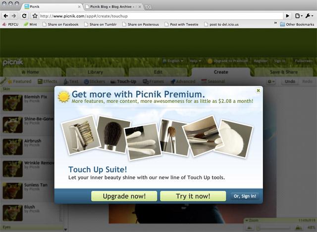 picnik premium upgrade