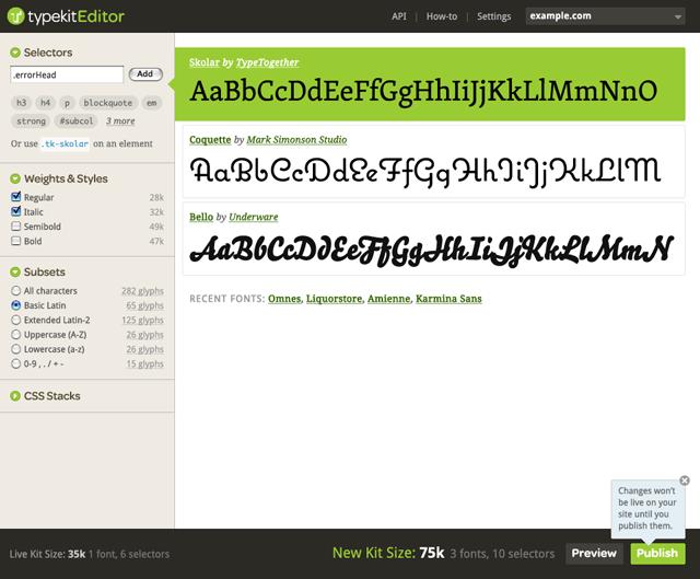 TypeKit Editor interface