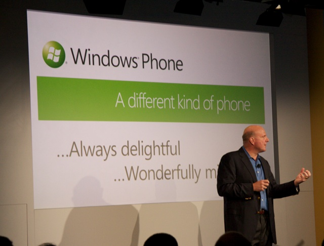 Steve Ballmer gestures for emphasis while starting his pitch.