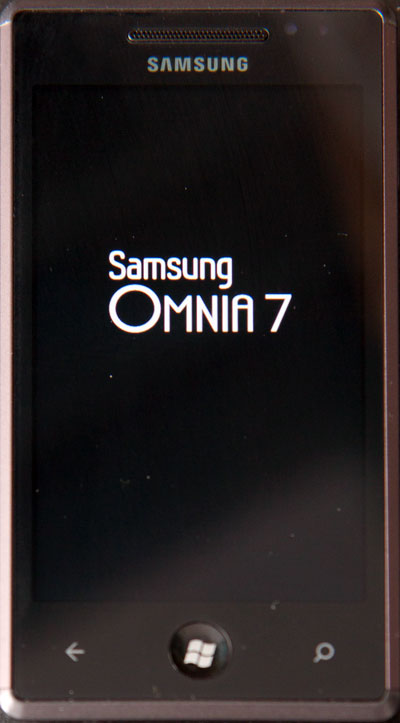 I enjoy how Samsung's boot screen matches neither Samsung's own styling or Windows Phone 7's.