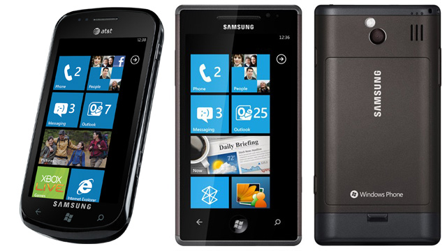 Left: the AT&T Samsung Focus. Right: the Samsung Omina 7.