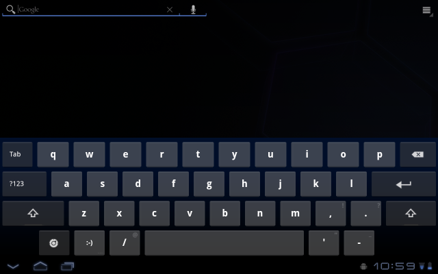 Honeycomb's on-screen keyboard