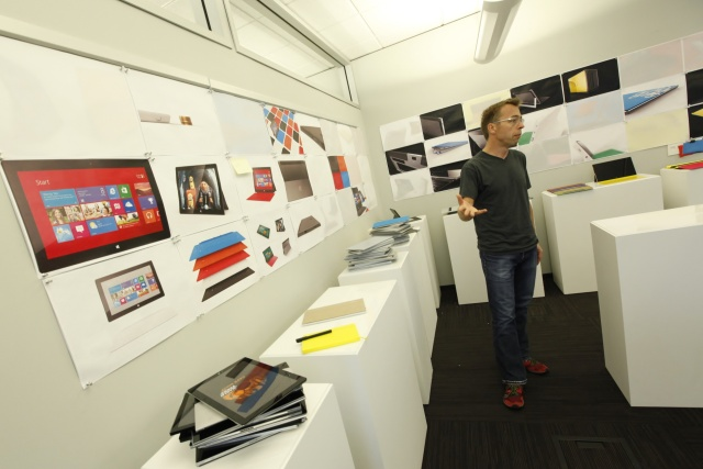 Ralf Groene, in a room full of Surface prototypes
