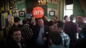 Editor in chief Ken Fisher at the inaugural Ars Technica UK community meetup. Look how much larger our events have become!