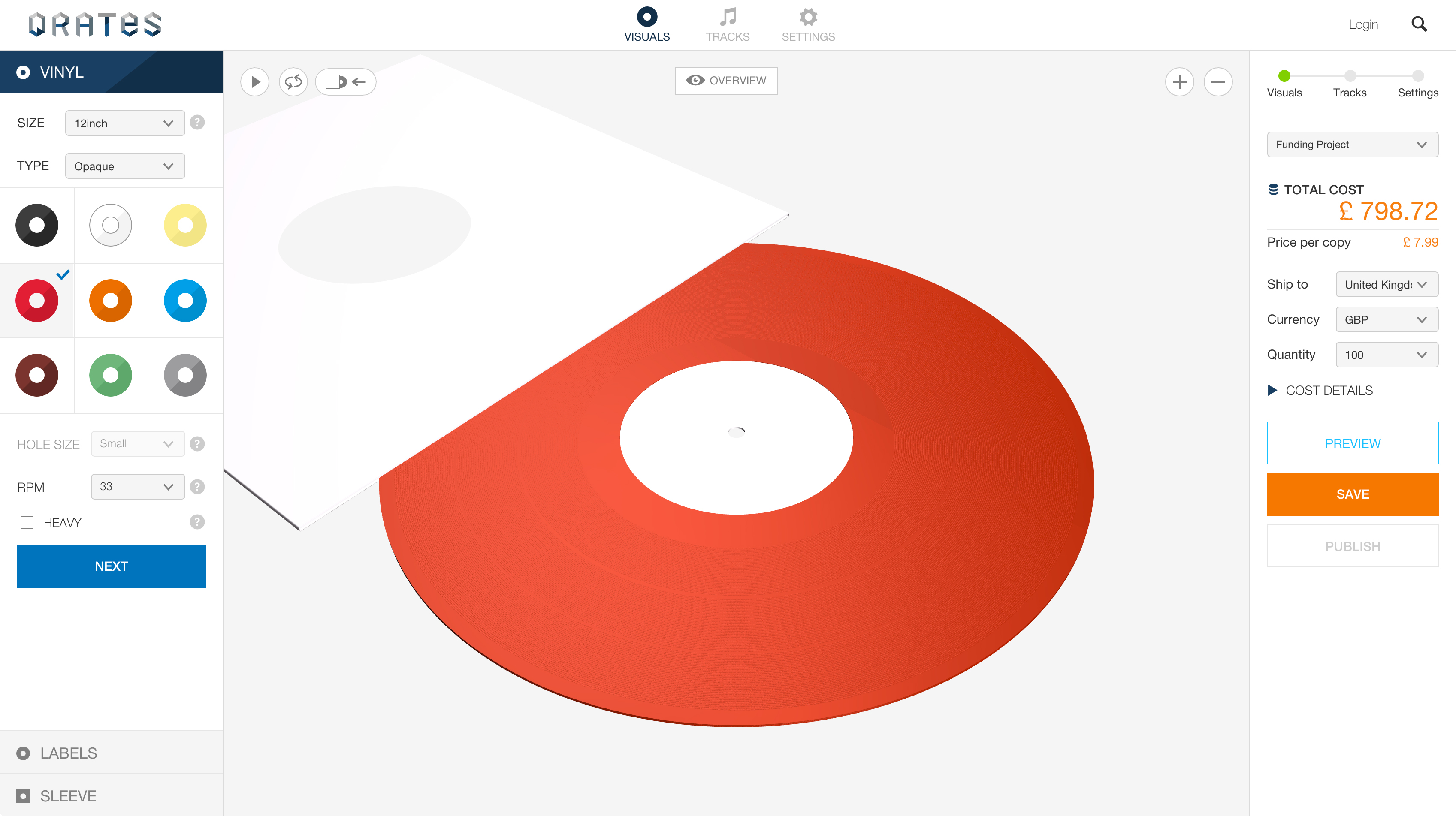 Qrates' site makes designing your vinyl records a relatively easy process.