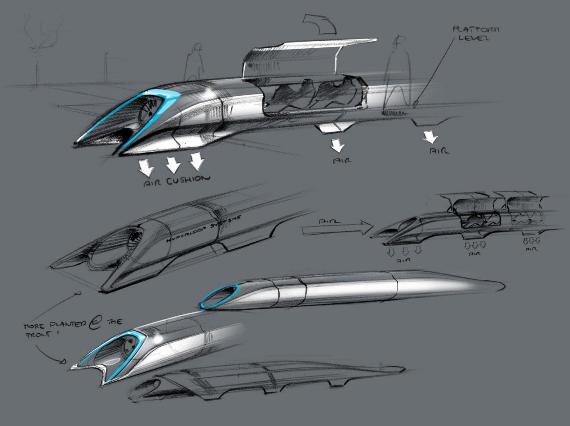 Musk's original Hyperloop sketch