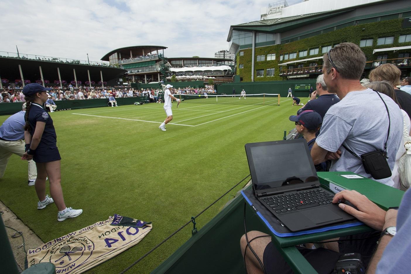A laptop (not an IBM one) at Wimbledon