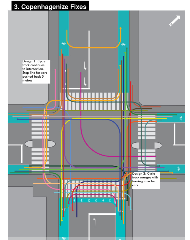 Copenhagenize's proposed fixes for the busy Copenhagen intersection