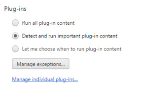The plug-in blocking feature can be configured in Chrome's content settings.