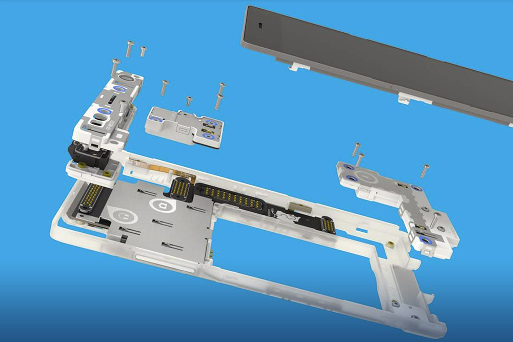 Exploded render of the Fairphone 2, showing the colour-coded screws and removable modules.