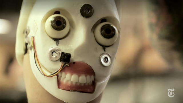 Prototype Realbotix head, with its silicone face removed. How's that for the stuff of nightmares?