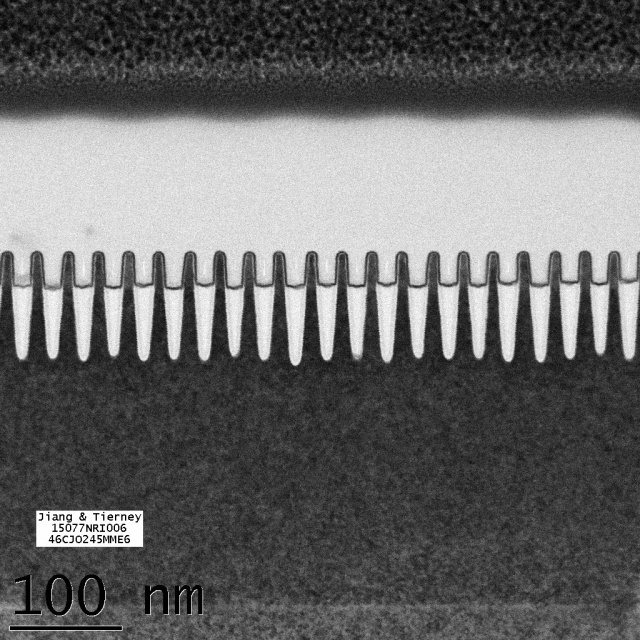 Bulk 7nm transistors, with a 30nm pitch (the distance between the front edge of one transistor and the front edge of the next transistor).