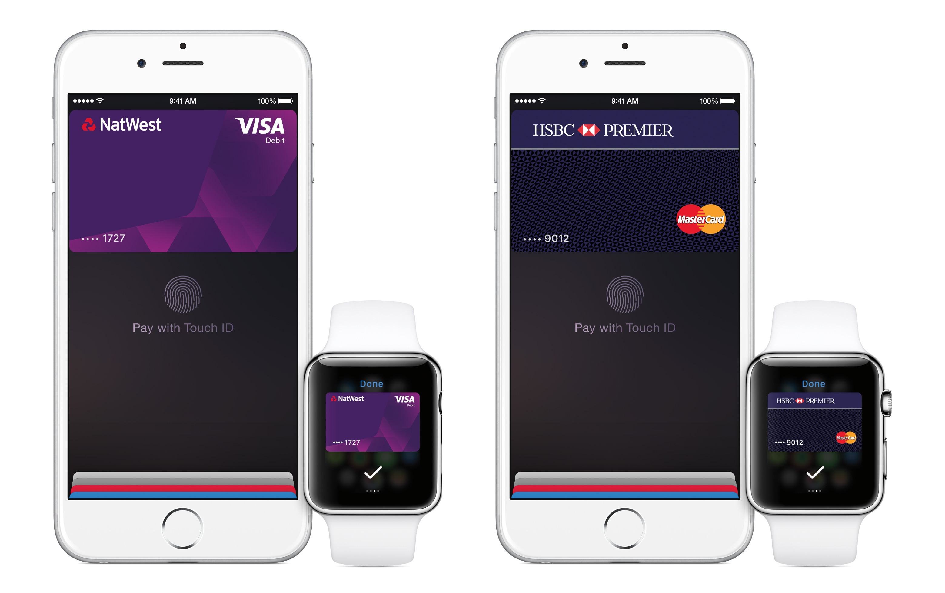 What Apple Pay looks like on the iPhone and Apple Watch.