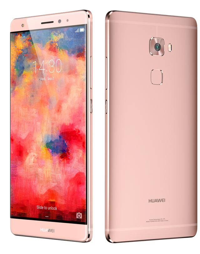The Huawei Mate S, also available in a rather fetching coral pink.