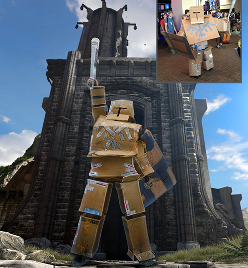 The Cardboard Hero armour set, with a cosplayer inset.