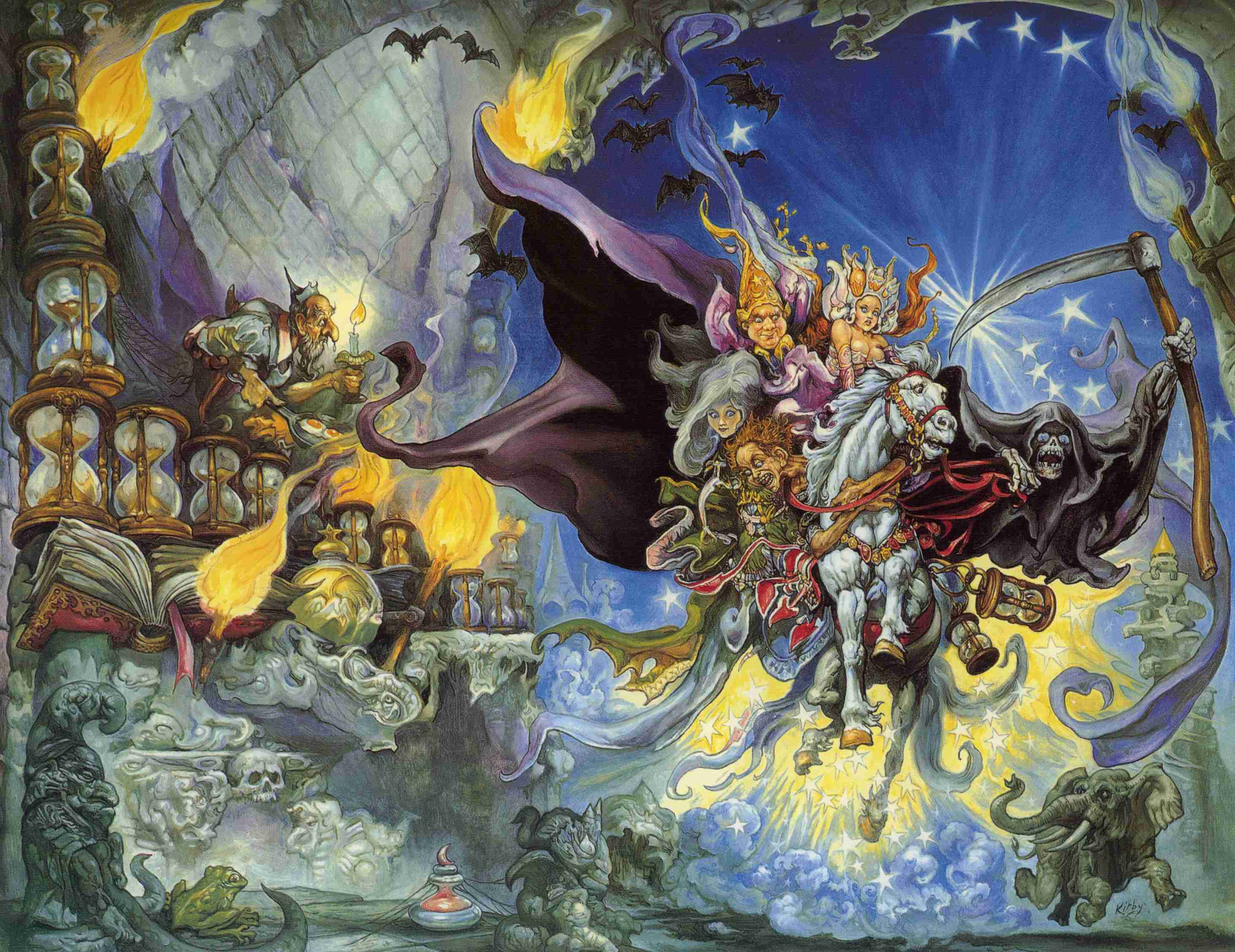 The cover art for the UK version of the fourth Discworld novel, <em>Mort</em>, by Josh Kirby.