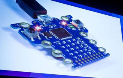 The original Micro:bit, shown back in March, looked very different from the model that eventually went into mass production. A coin battery was on the other side of the device.