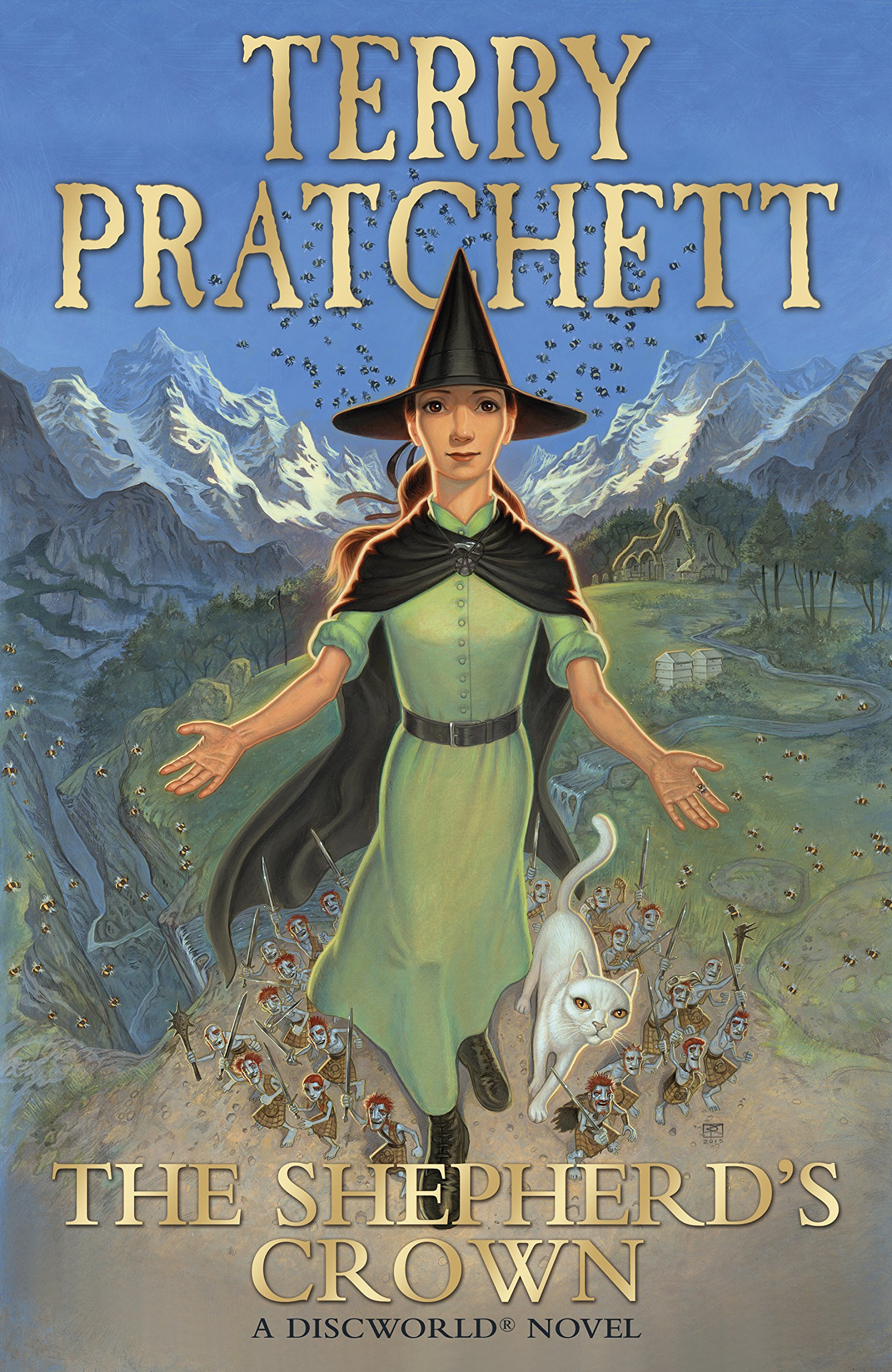 The UK cover of <em>The Shepherd's Crown</em>, illustrated by Paul Kidby.