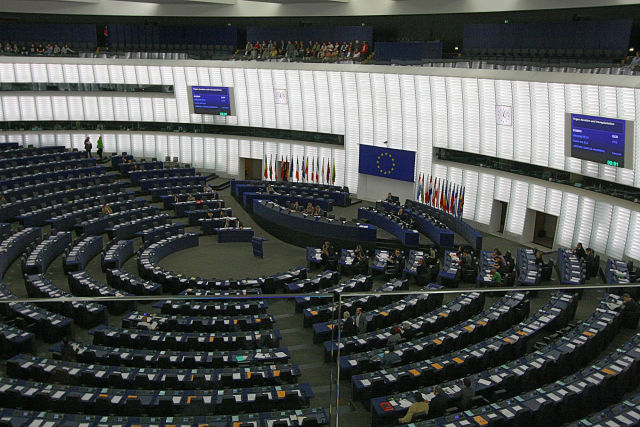 Hemicycle of the Louise Weiss building of the European Parliament, Strasbourg.
