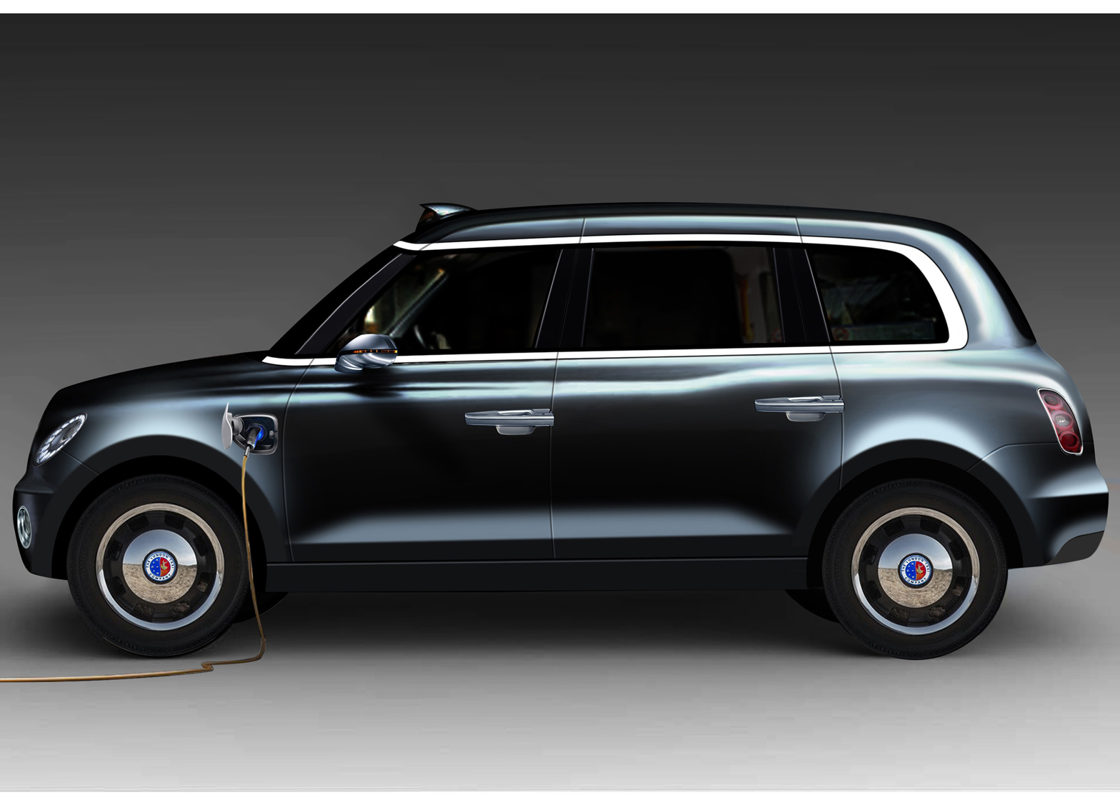 The TX5's side profile - but you can tell this is just a prototype render, as the rear door handle is in the wrong place (the production version has rear-hinged doors).