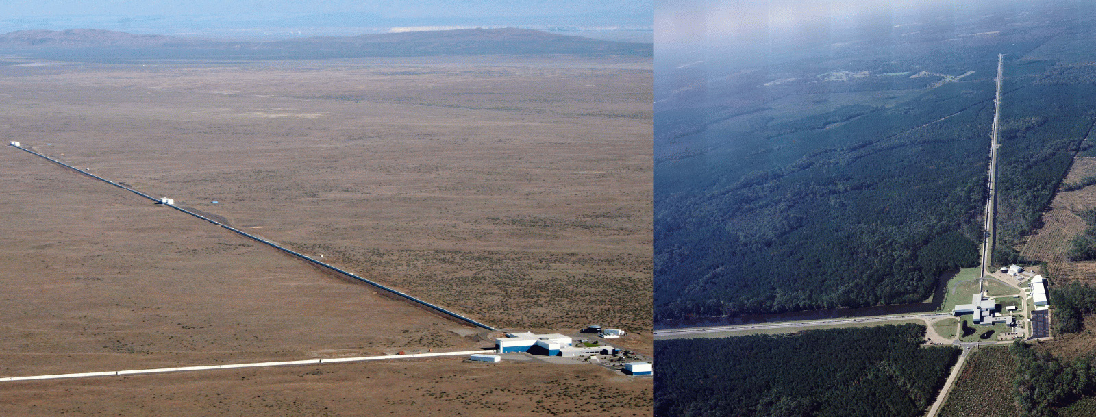 The two gravitational wave detector tubes, located about 3,000km away from each other - one in Washington State (left) and Louisiana (right).
