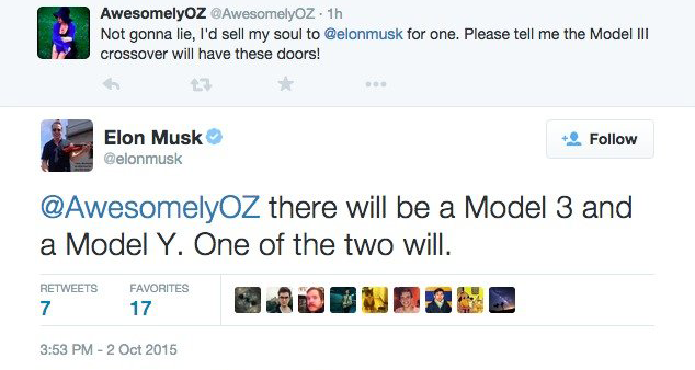 Musk's now-deleted tweet, seemingly confirming a Model Y.