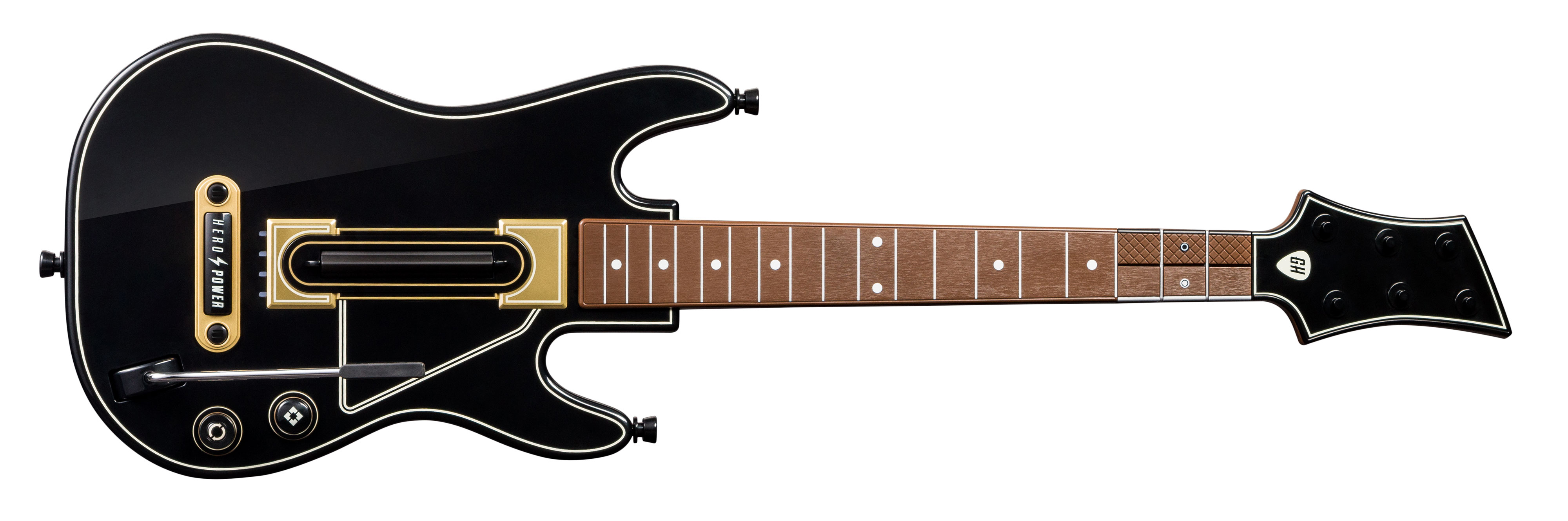 The new <em>Guitar Hero Live</em> guitar, complete with its six stacked buttons.