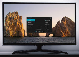 The Drift TV on-screen display, letting you configure its de-blueing functions.