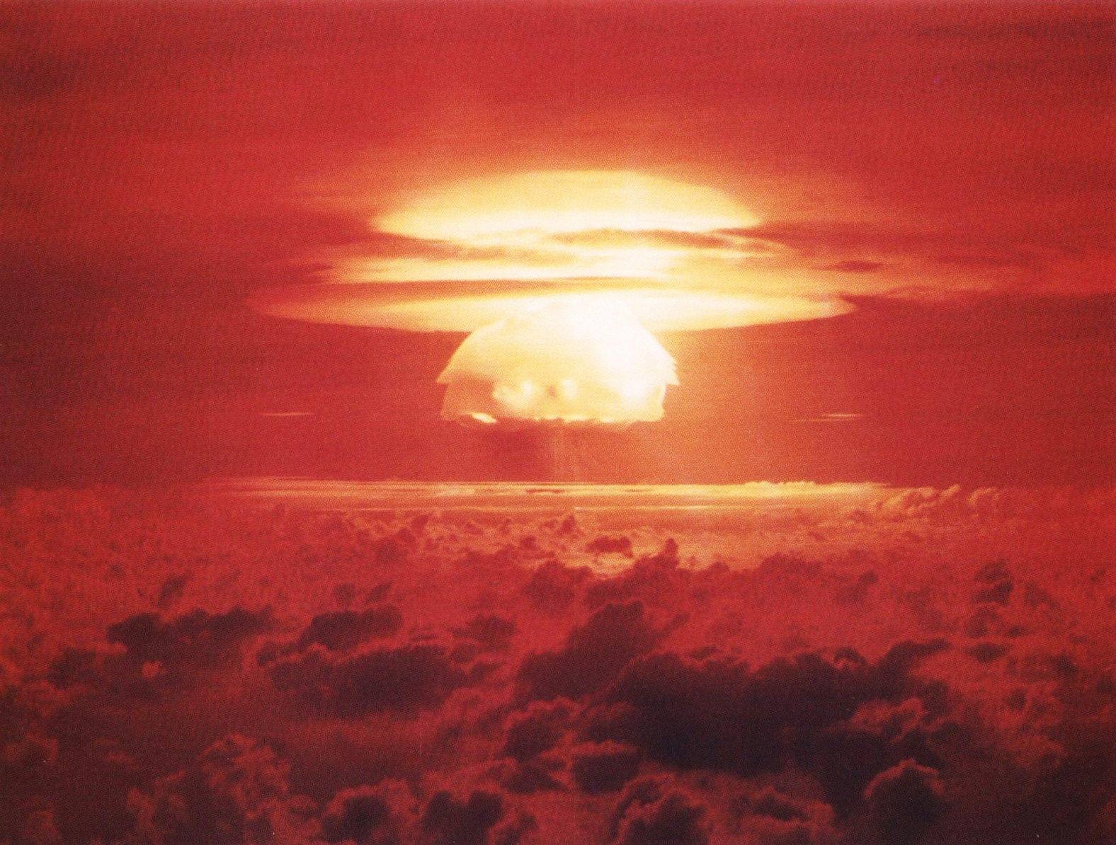 The mushroom cloud from the Castle Bravo detonation in 1954: the USA's first test of a practical deliverable fusion bomb. The yield was 15 megatons—three times more than the 5mt that was expected by its designers. To this day, it's still the USA's largest nuclear yield.