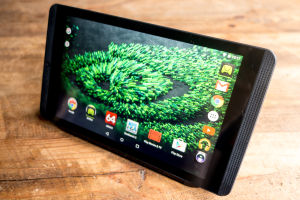 The Shield Tablet, standing up with the aid of its optional screen cover (£20/€30/$30).