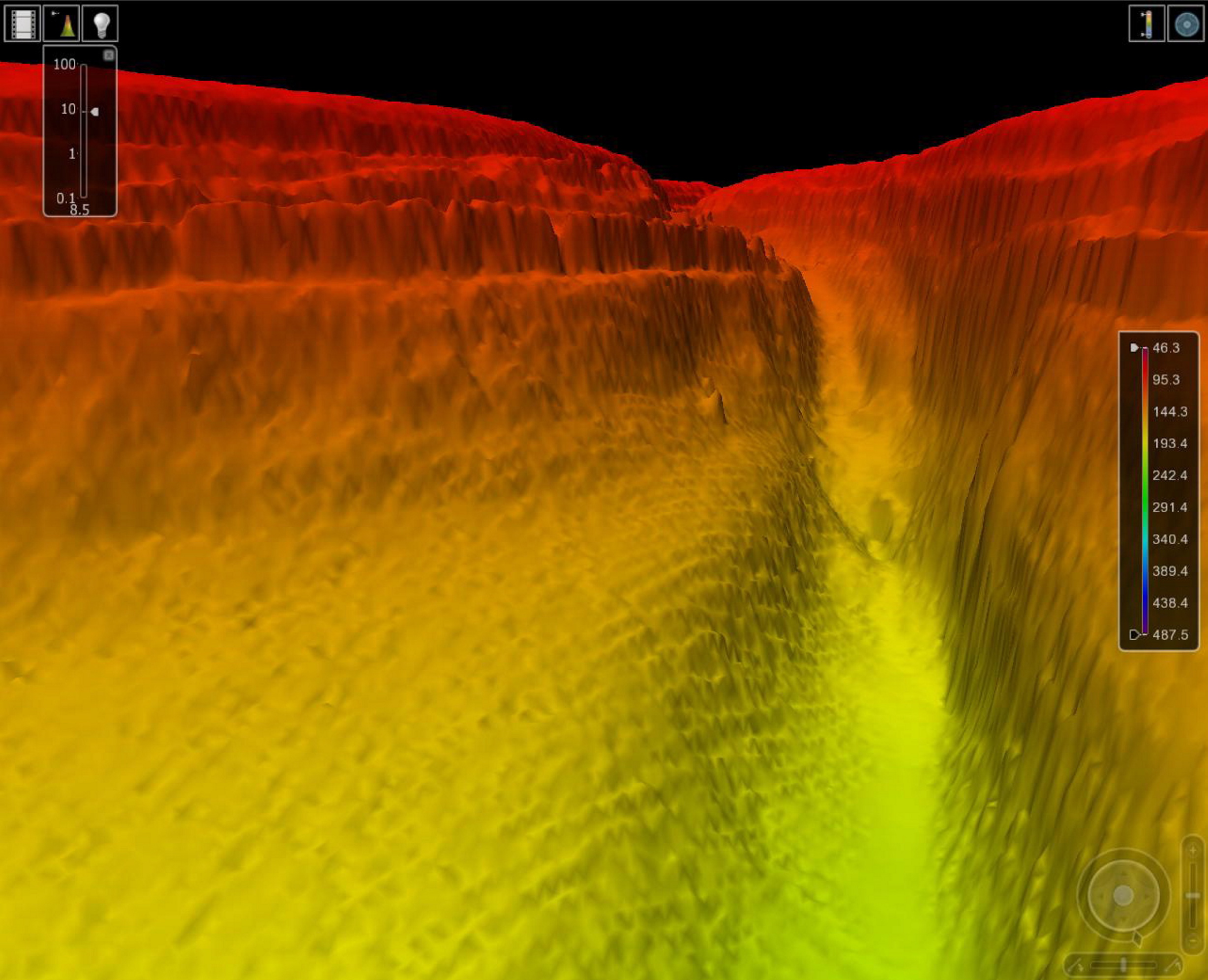 A three-dimensional echo sounding representation of a newly discovered canyon under the Red Sea by survey vessel HMS Enterprise.